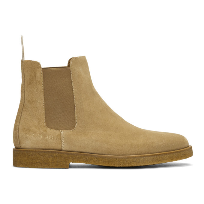 Photo: Common Projects Tan Suede Chelsea Boots