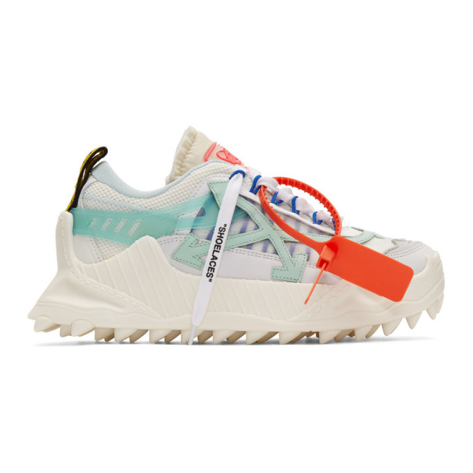 Photo: Off-White White and Blue Odsy-1000 Sneakers