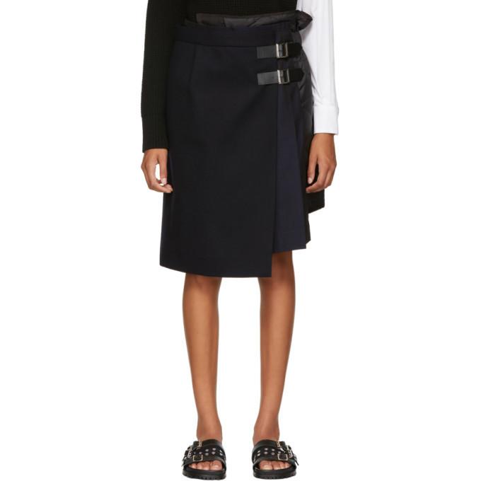 Sacai Navy Wool Combo Wrap Skirt