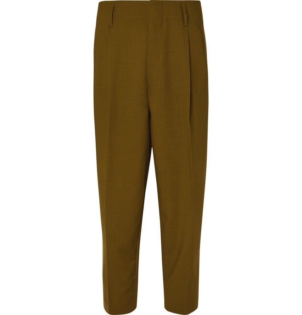 Photo: AMI - Pleated Virgin Wool-Twill Trousers - Green