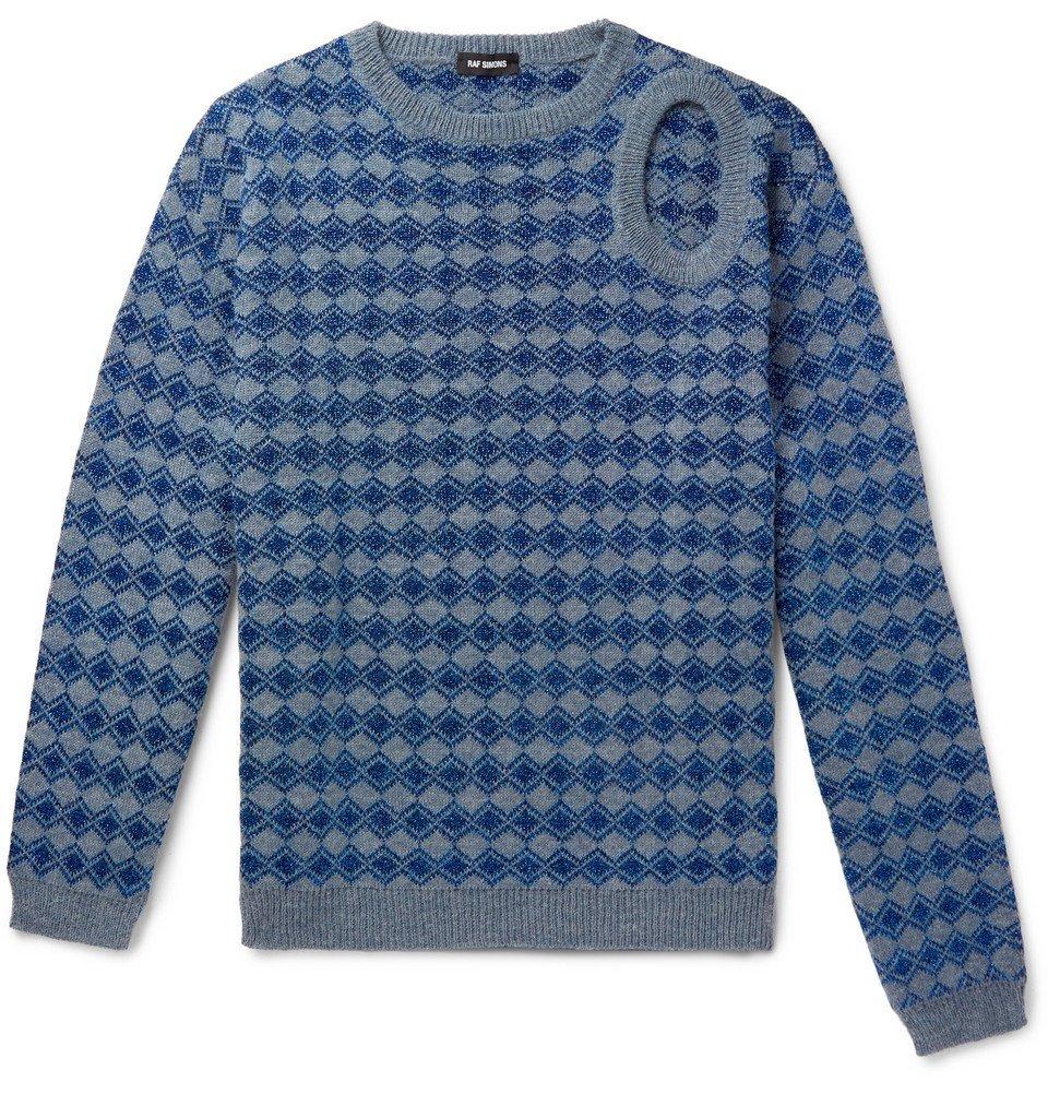 Raf Simons - Cutout Metallic Knitted Sweater - Men - Blue
