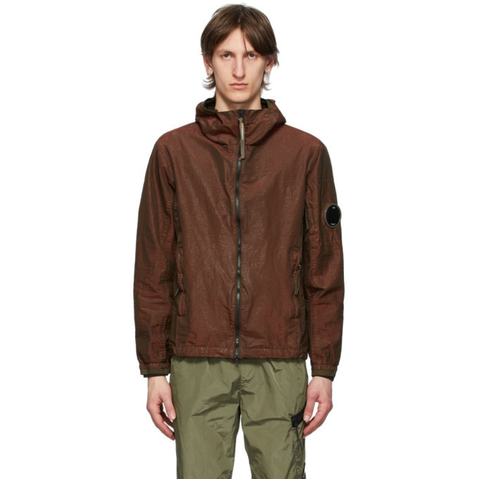 C.P. Company Burgundy P.Ri.S.M. Lens Arm Hooded Jacket