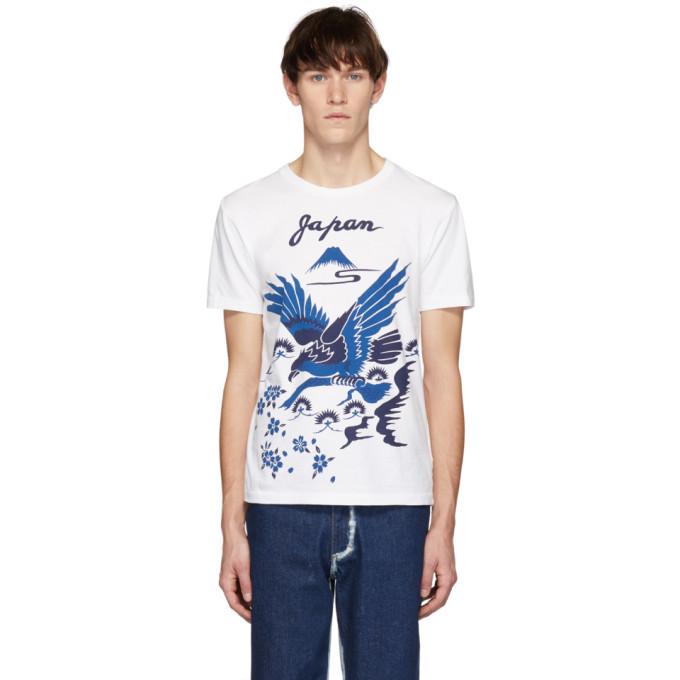 Photo: Blue Blue Japan SSENSE Exclusive White Hawk Pine and Mt Fuji Sakura T-Shirt