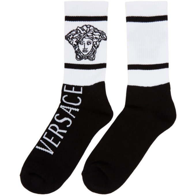 Versace Black and White Vintage Medusa Socks