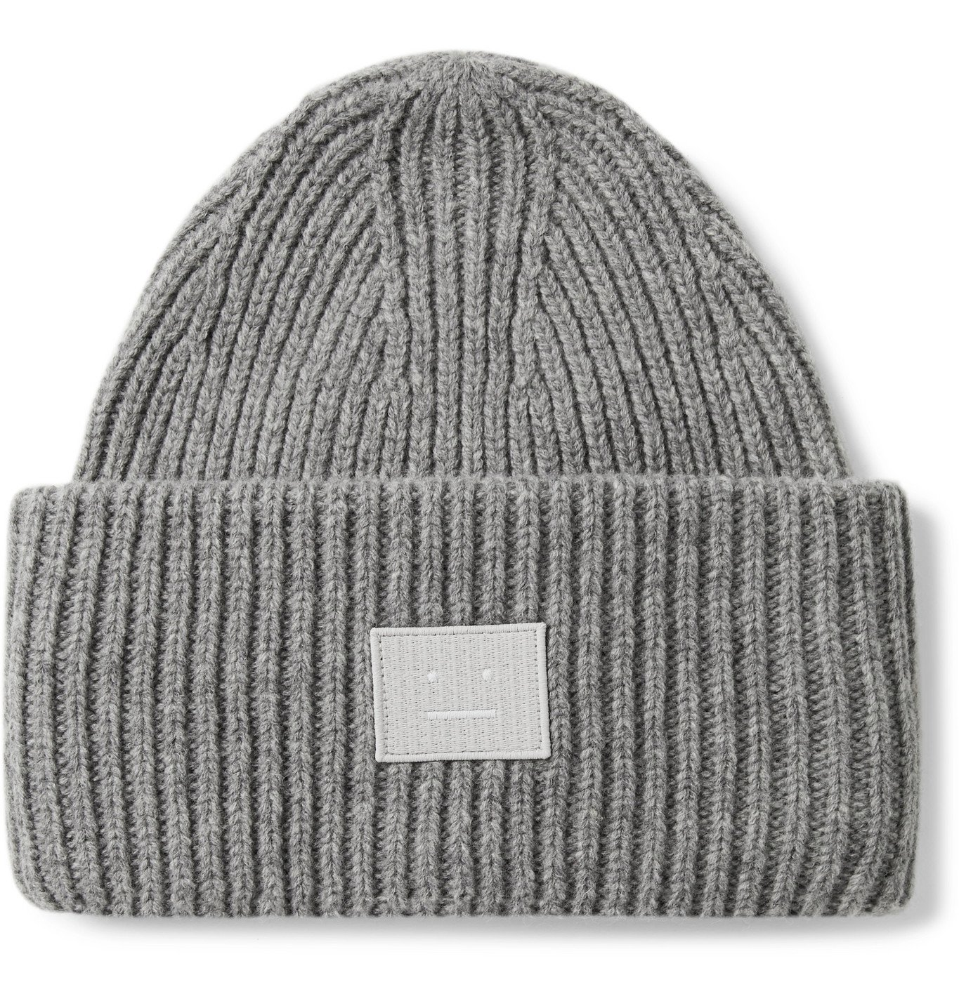 Photo: Acne Studios - Logo-Appliquéd Ribbed Mélange Wool Beanie - Gray
