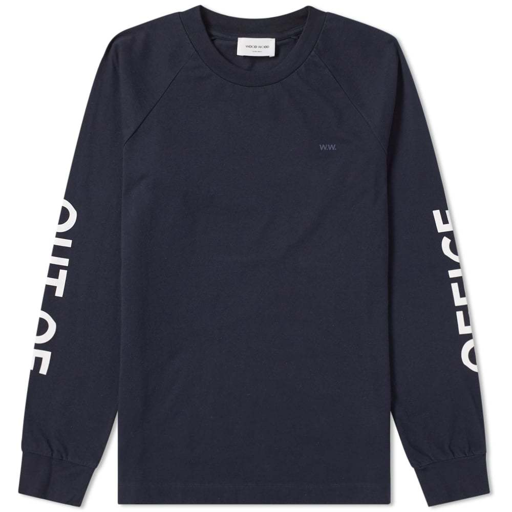 Wood Wood Long Sleeve Out of Office Han Tee Blue
