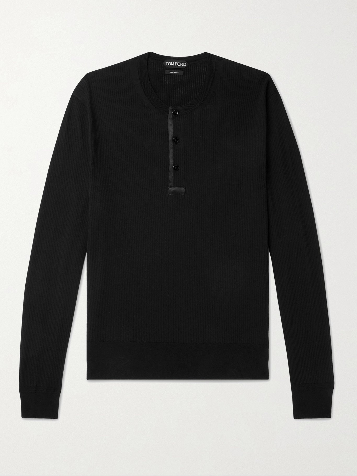 Photo: TOM FORD - Slim-Fit Satin-Trimmed Ribbed Cotton and Silk-Blend Henley T-Shirt - Black