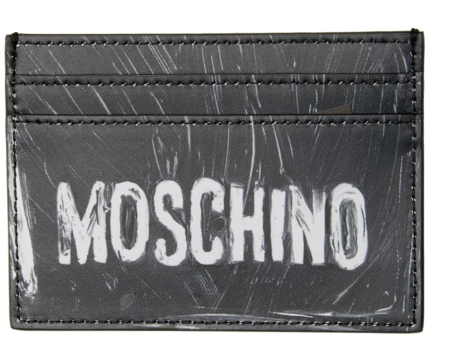 Photo: Moschino Black & White Logo Paint Card Holder