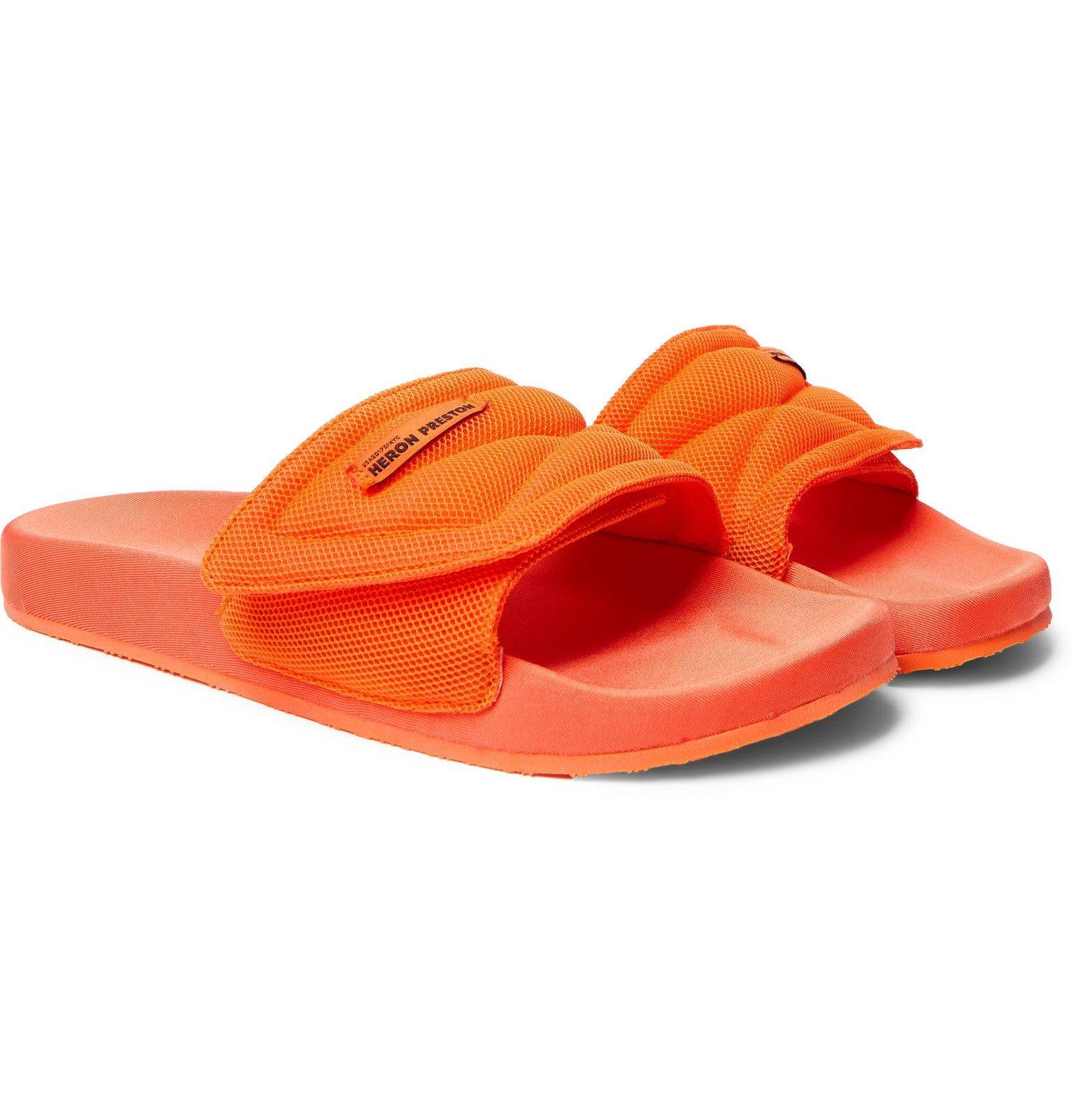 Photo: Heron Preston - Logo-Appliquéd Mesh Slides - Orange