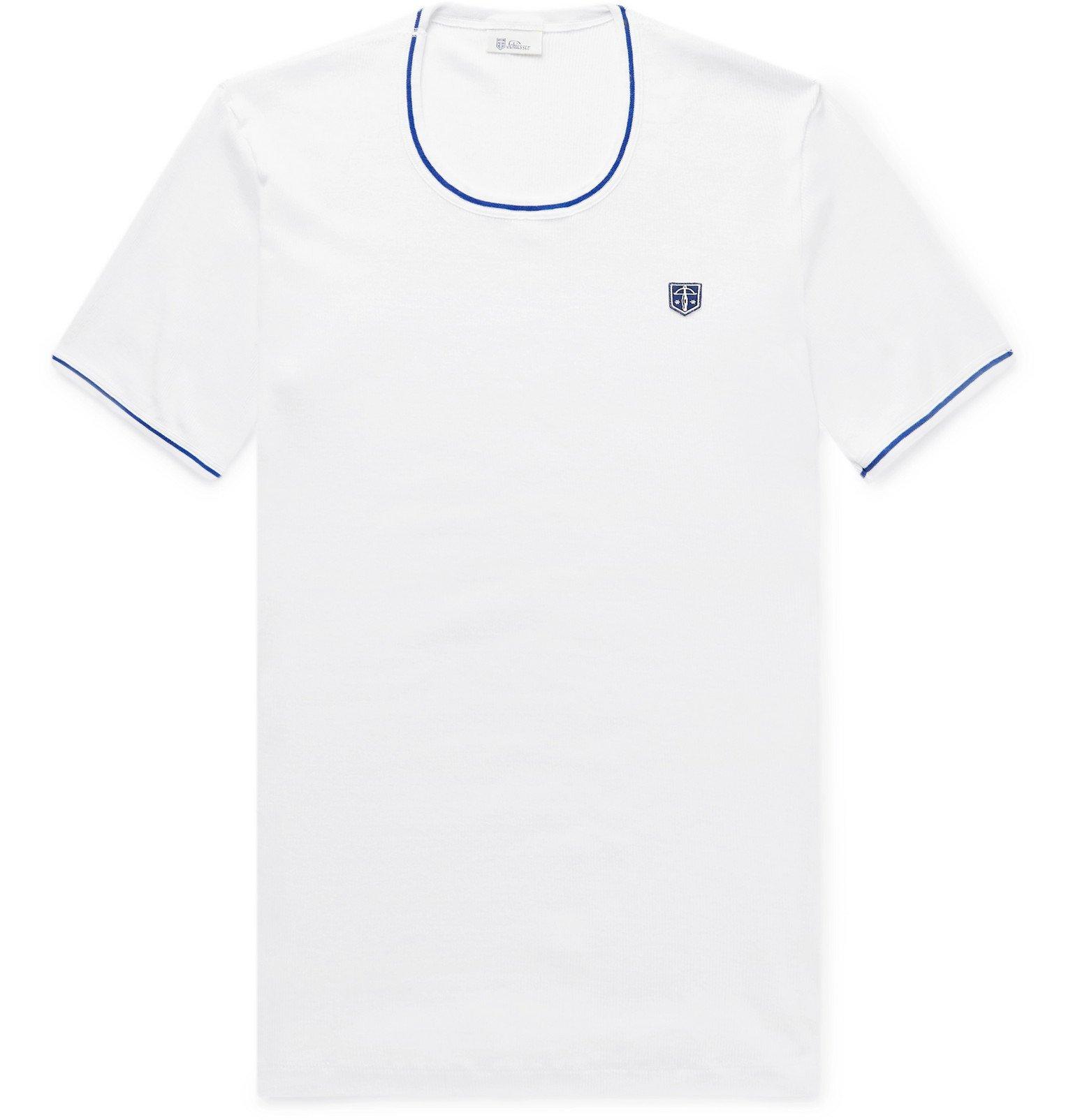 Photo: Schiesser - Friedrich Contrast-Tipped Ribbed Cotton-Jersey T-Shirt - White