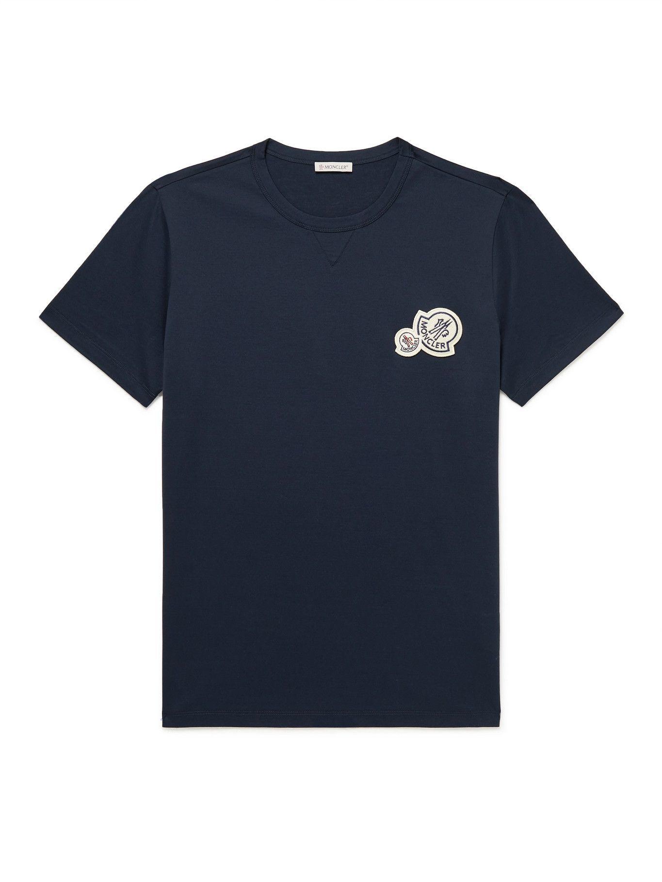 Photo: Moncler - Logo-Appliquéd Cotton-Jersey T-Shirt - Blue