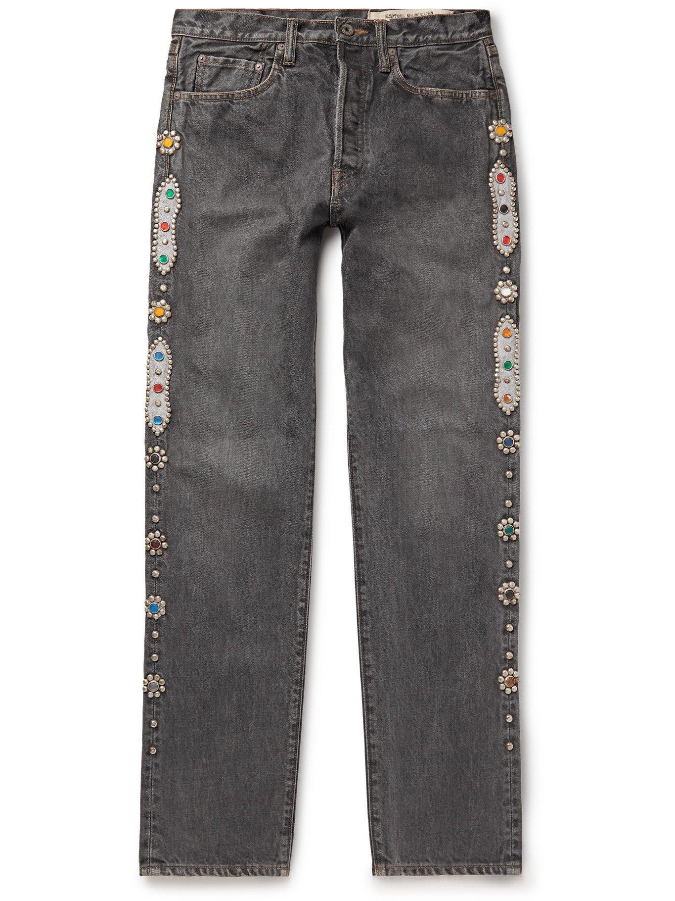 KAPITAL - Embellished Denim Jeans - Black
