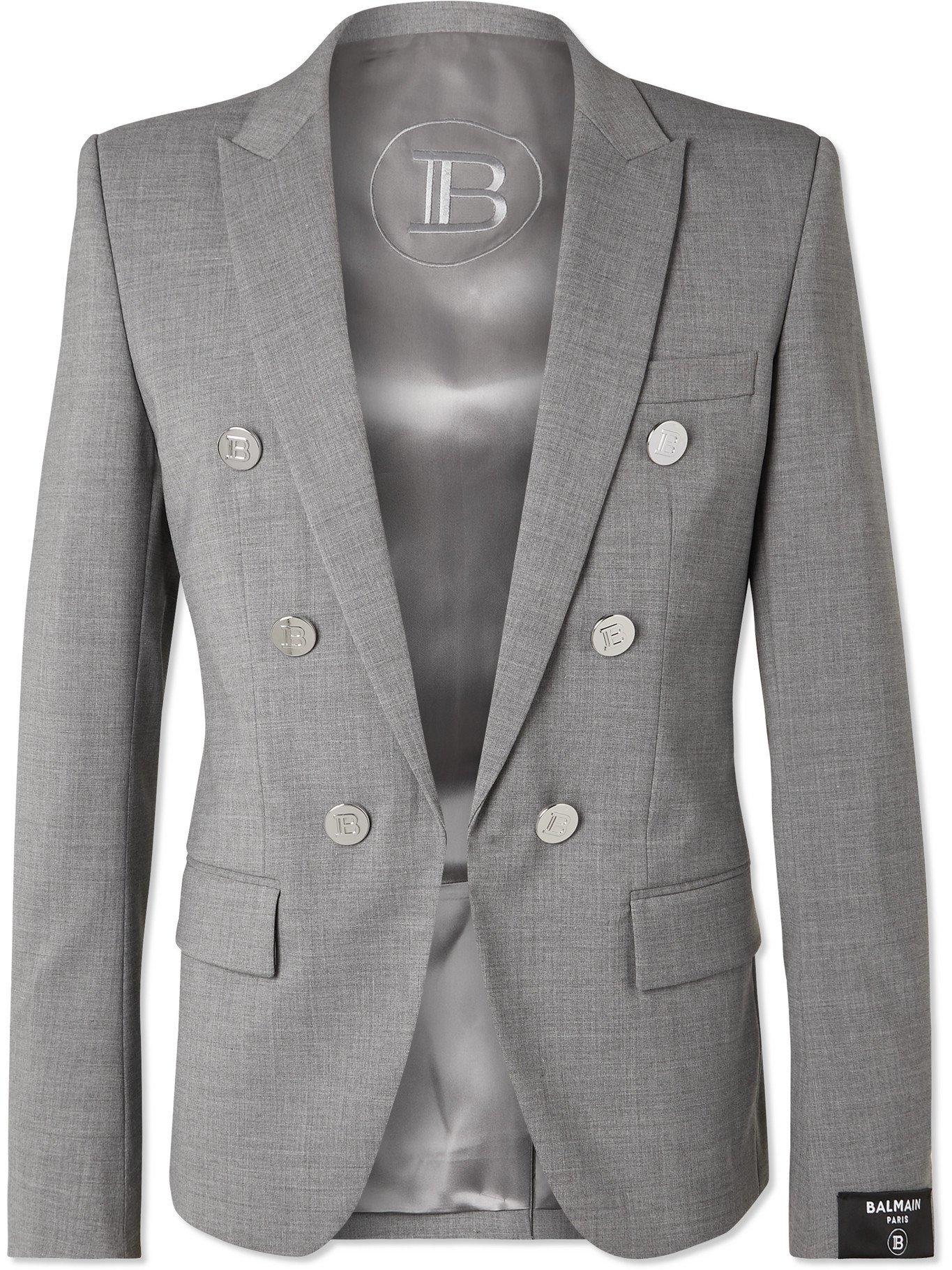 Photo: BALMAIN - Button-Embellished Wool-Blend Blazer - Gray
