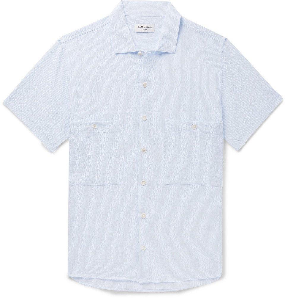 Photo: YMC - Striped Seersucker Shirt - Sky blue