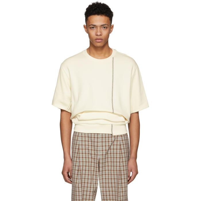 3.1 Phillip Lim Ecru Short Sleeve Re-Constructed Sweatshirt
