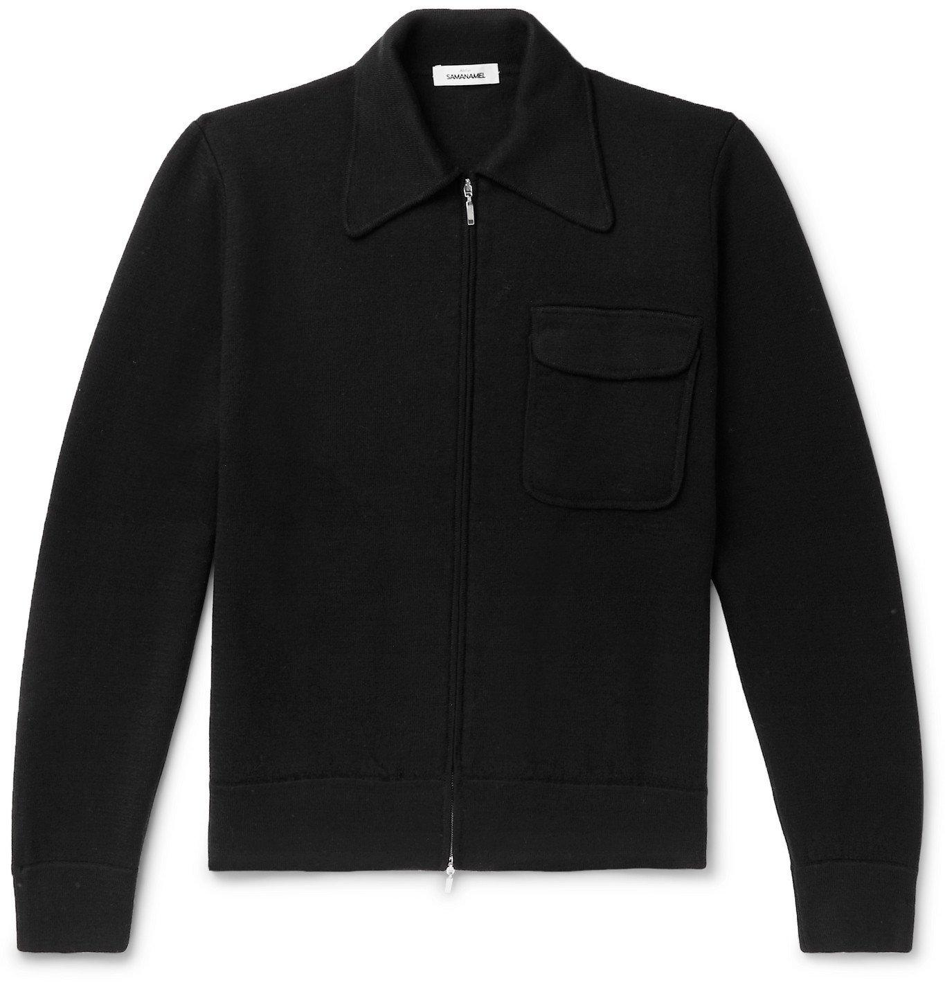 Saman Amel - Merino Wool Zip-Up Cardigan - Black
