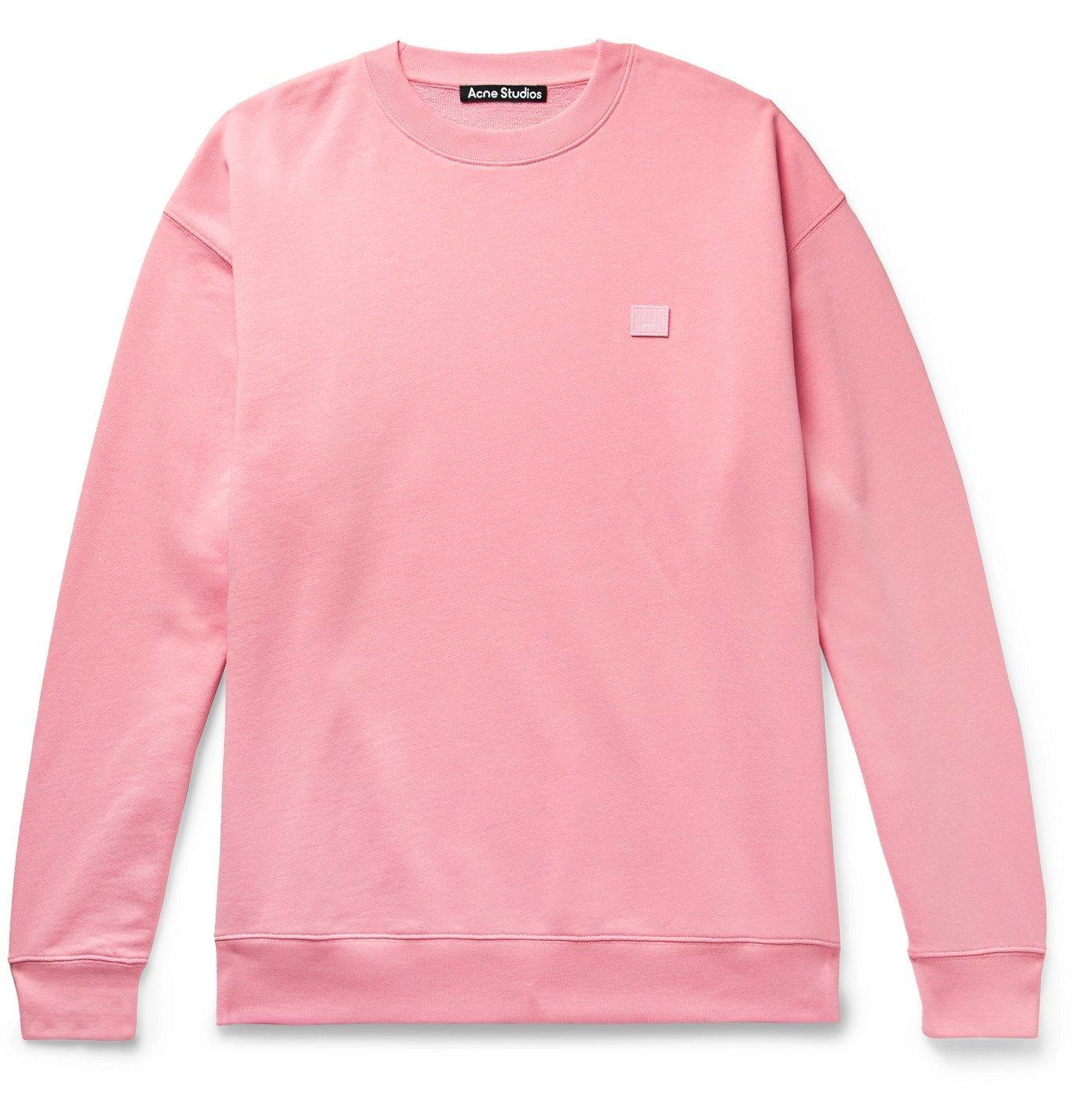 Photo: Acne Studios - Forba Oversized Logo-Appliquéd Loopback Cotton-Jersey Sweatshirt - Pink