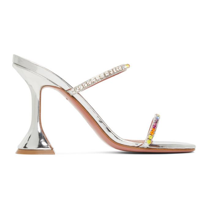 Amina Muaddi Silver Gilda Rainbow Heels