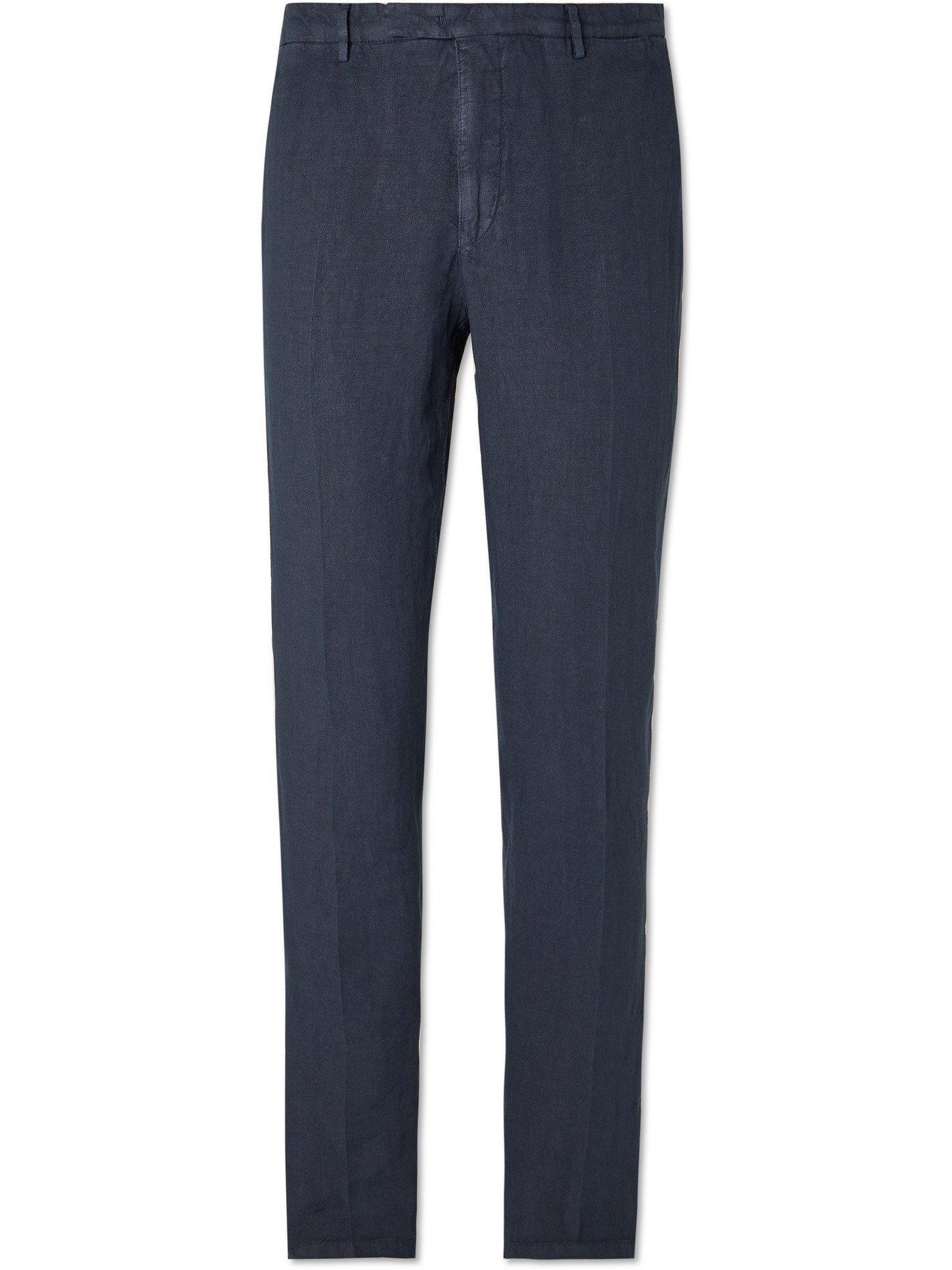 Photo: BOGLIOLI - Slim-Fit Linen Suit Trousers - Blue