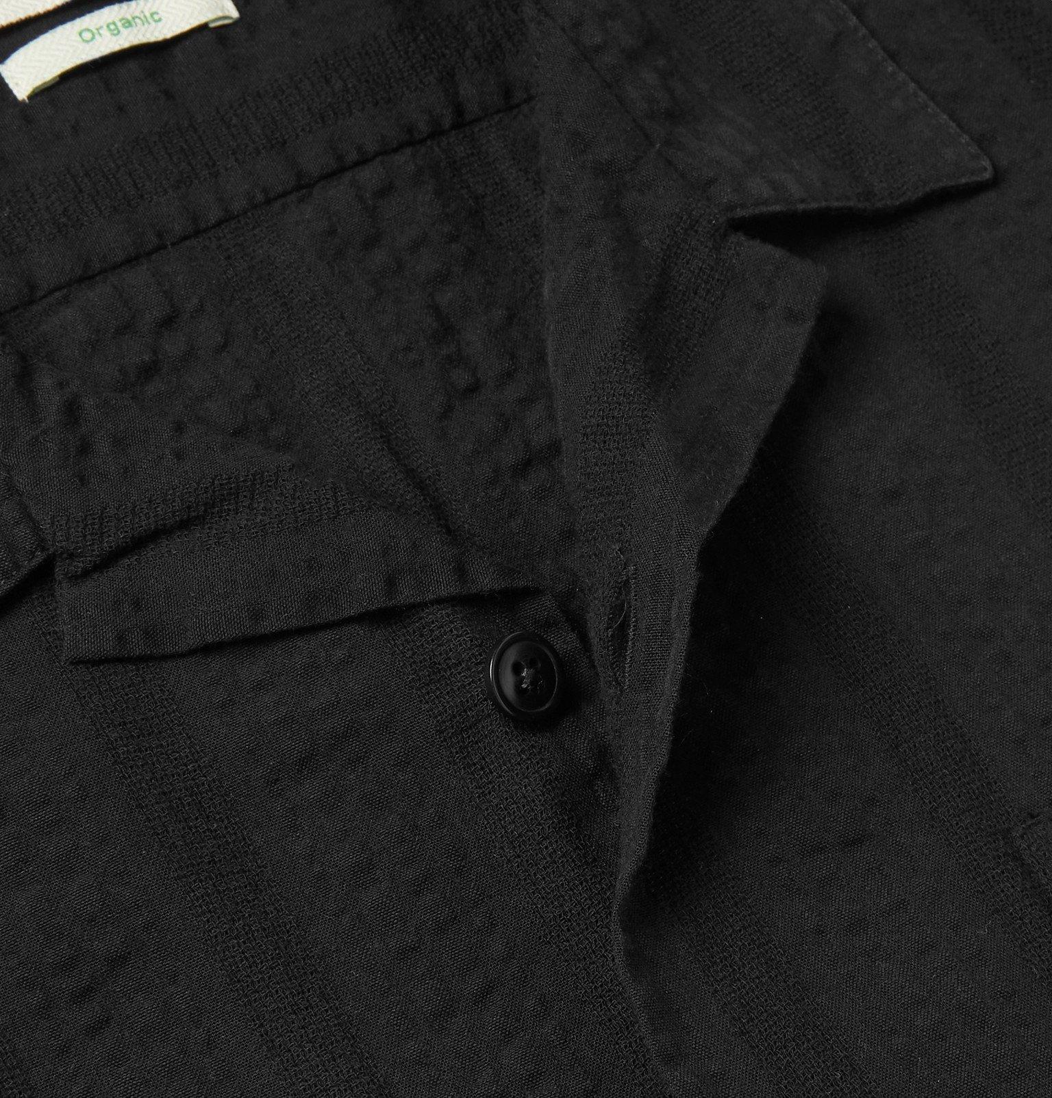Oliver Spencer - Slim-Fit Camp-Collar Striped Organic Cotton-Seersucker Shirt - Black
