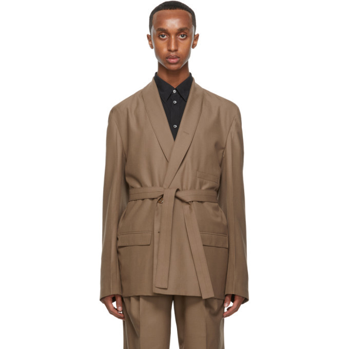 Photo: Lemaire Beige Wool Double-Breasted Belted Blazer