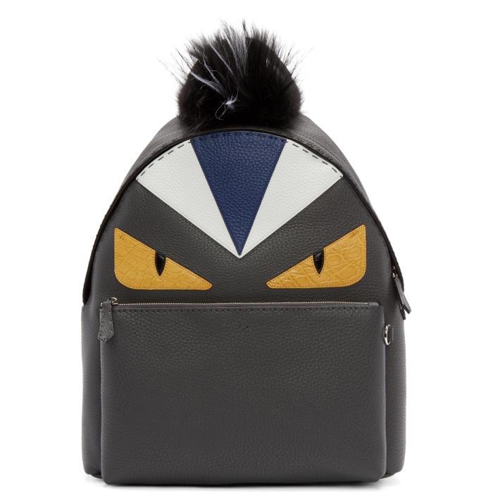 Photo: Fendi Black Fur-Trimmed Monster Backpack
