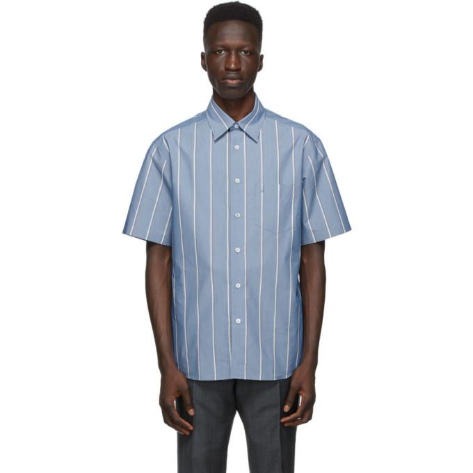 Photo: Dunhill Blue Poplin Striped Short Sleeve Shirt