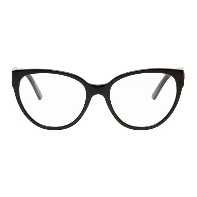 Photo: Balenciaga Black Acetate Cat-Eye Glasses