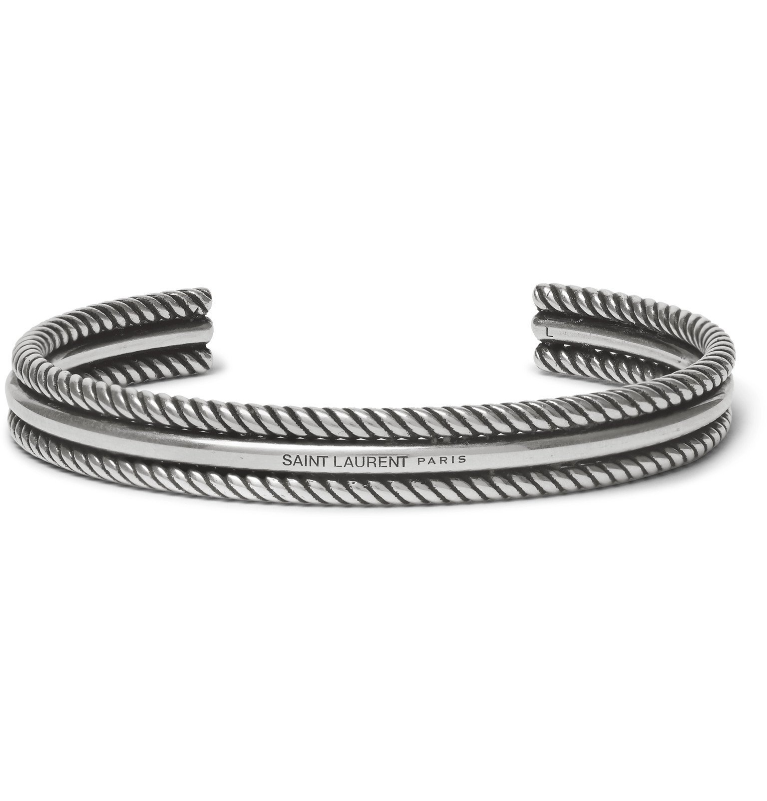 Photo: SAINT LAURENT - Double Rope Sterling Silver Cuff - Silver