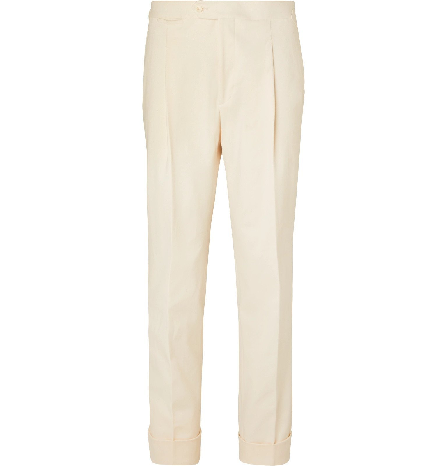 Saman Amel - Tapered Pleated Cotton-Blend Twill Trousers - Neutrals