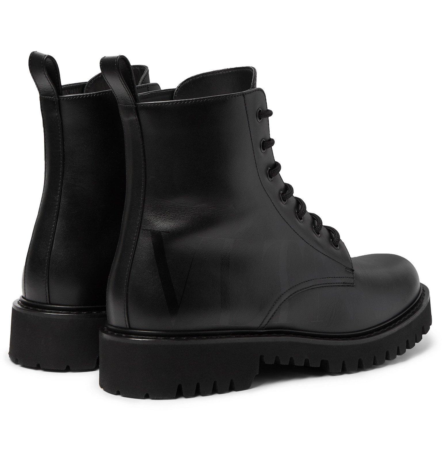 Valentino - Valentino Garavani Logo-Print Leather Boots - Black