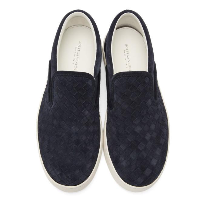 Bottega Veneta Navy Suede Intrecciato Dodger Slip-On Sneakers