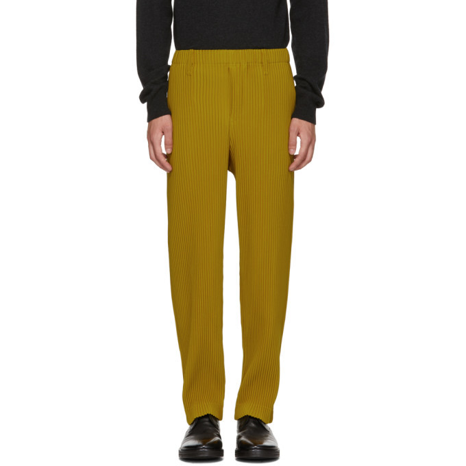 Photo: Homme Plisse Issey Miyake Yellow Tailored Pleats Trousers