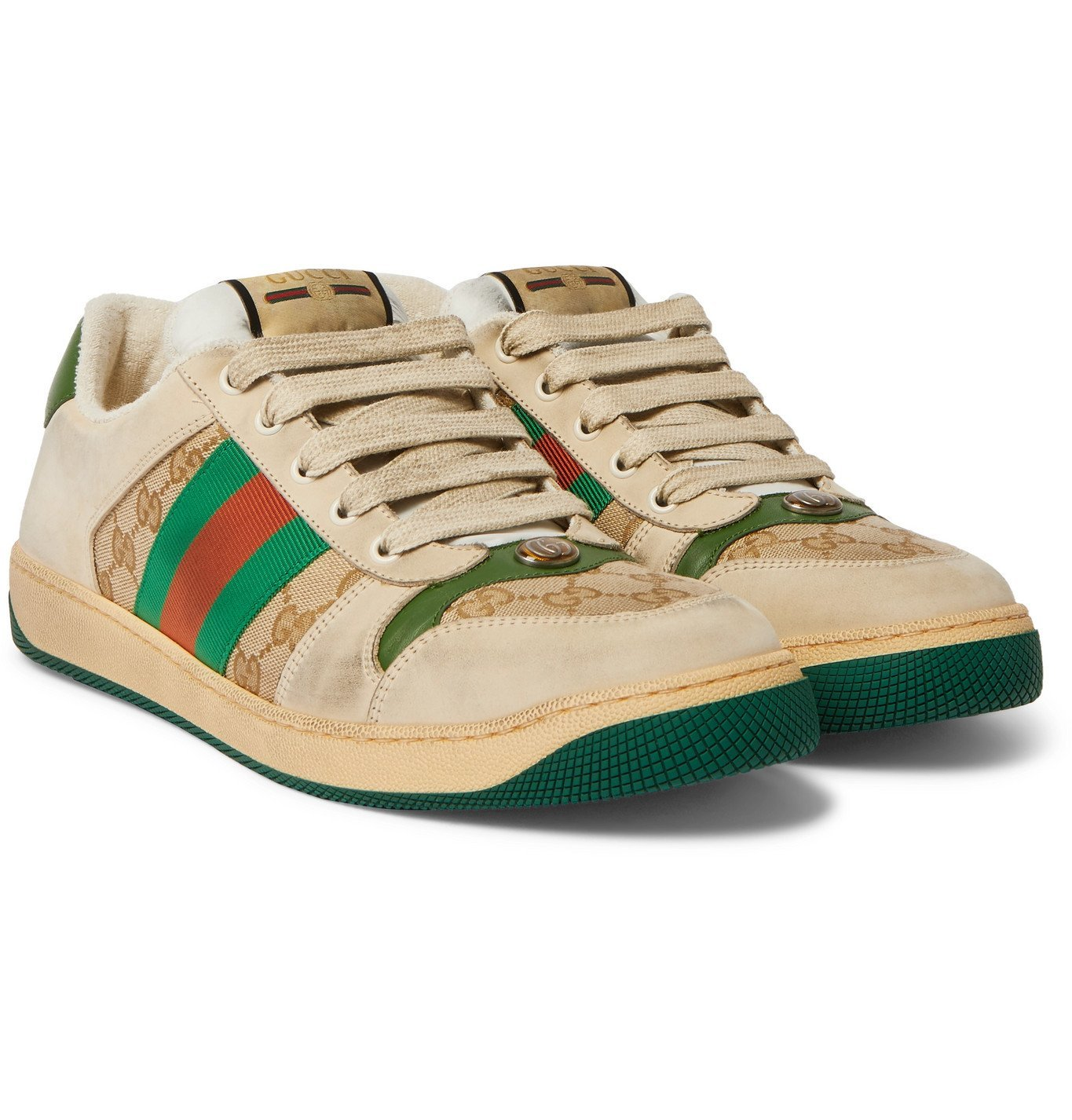 Photo: Gucci - Screener Monogrammed Canvas and Webbing-Trimmed Distressed Leather Sneakers - Brown