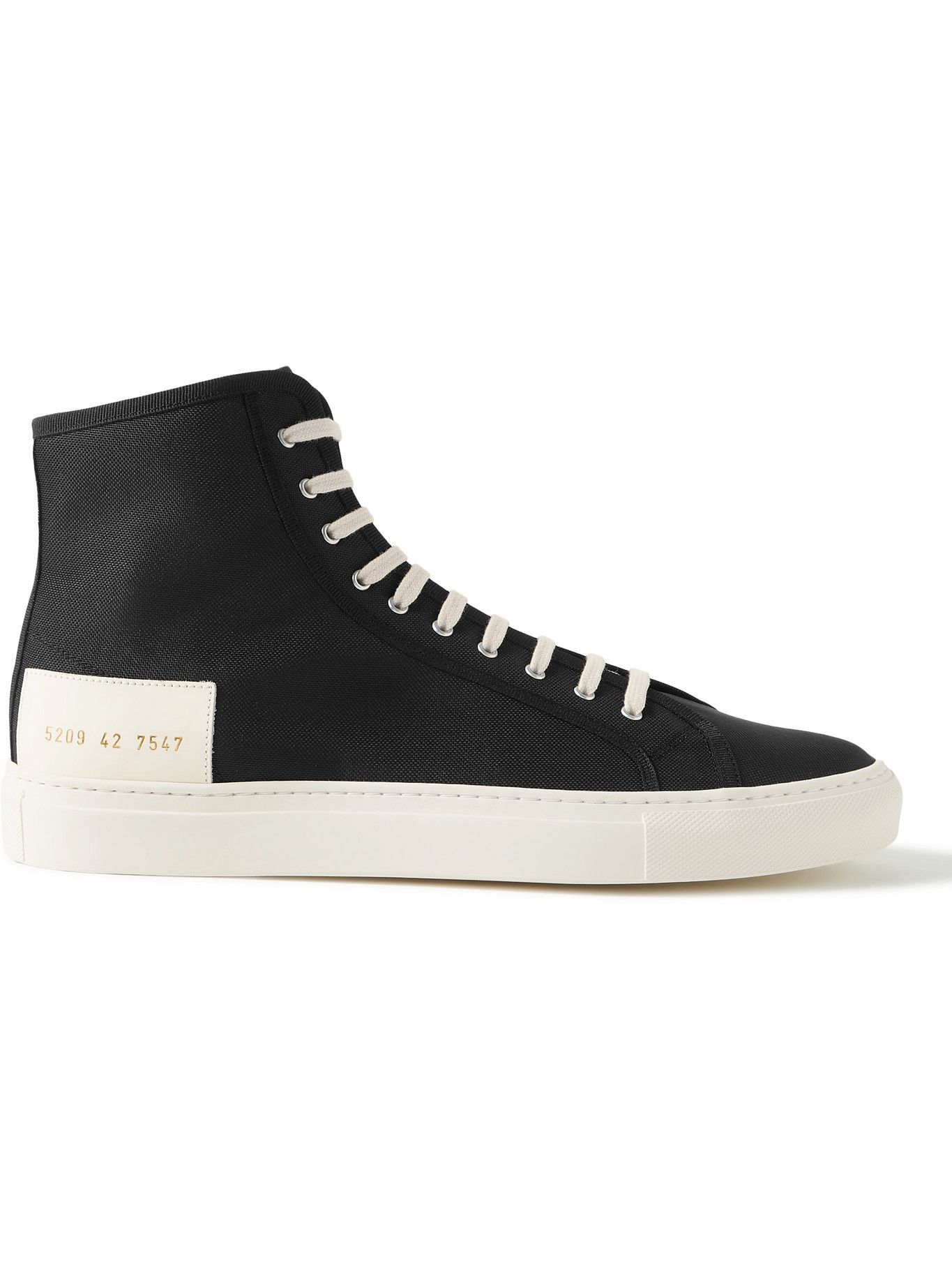 Photo: Common Projects - Tournament Leather-Trimmed Recycled Nylon High-Top Sneakers - Black