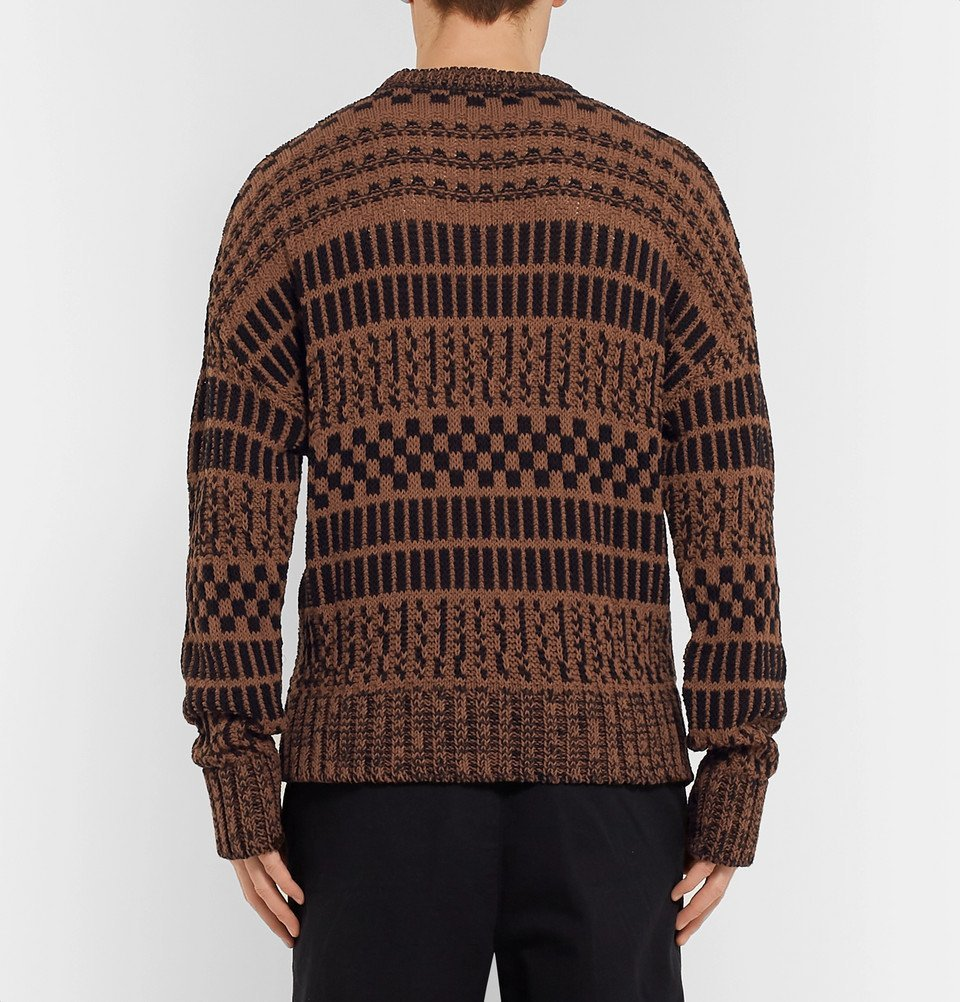 AMI - Oversized Striped Cotton and Linen-Blend Sweater - Brown