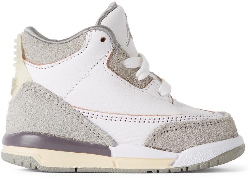 Photo: Nike Jordan Baby White & Grey A Ma Maniére Edition Air Jordan 3 Retro SP Sneakers