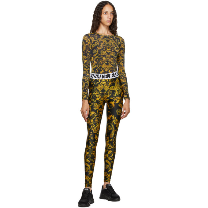 Versace Jeans Couture Black and Gold Paisley Print Leggings