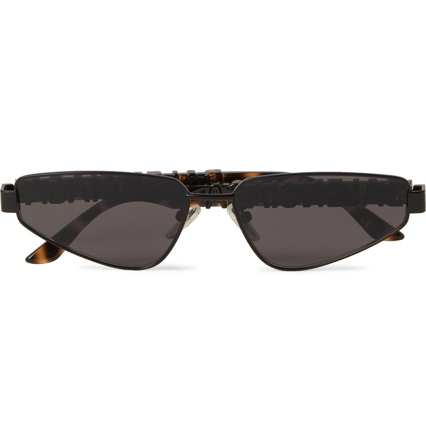 Photo: Balenciaga - Rectangle-Frame Logo-Detailed Metal and Acetate Sunglasses - Black