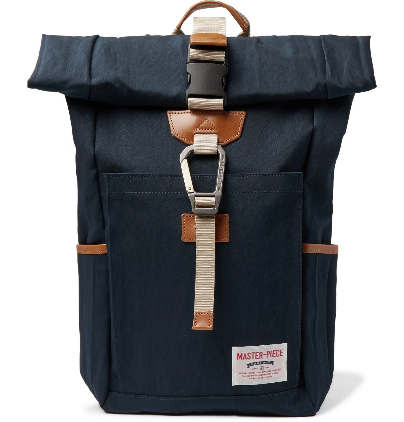 Photo: Master-Piece - Leather-Trimmed Nylon-Twill Backpack - Blue