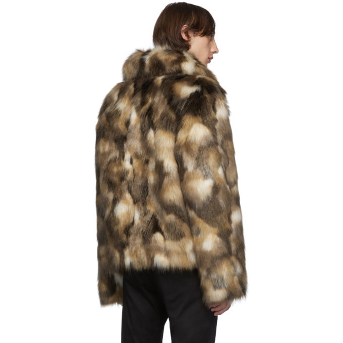 Saint Laurent Brown Faux-Fur Jacket