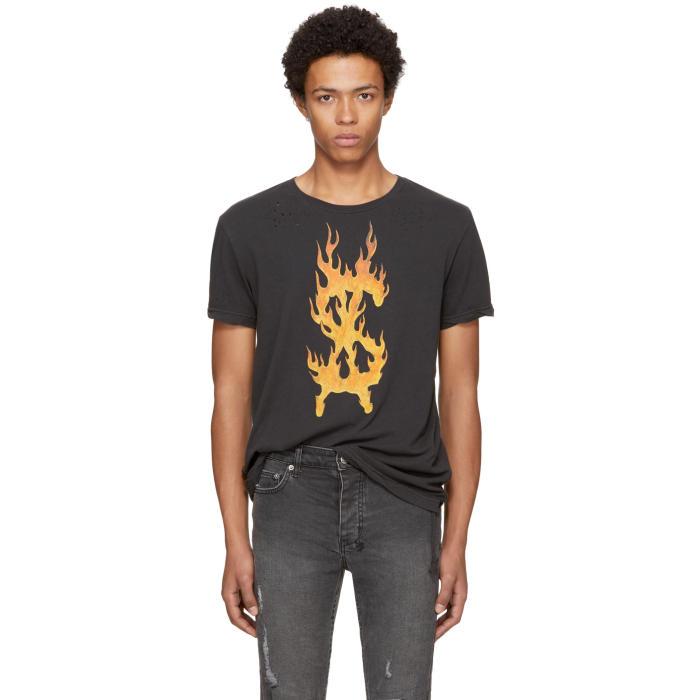 Ksubi Black Travis Scott Edition Flaming Dollar T-Shirt