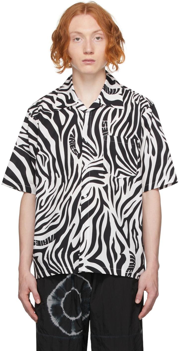 Photo: Aries White & Black Zebra Print Short Sleeve Shirt