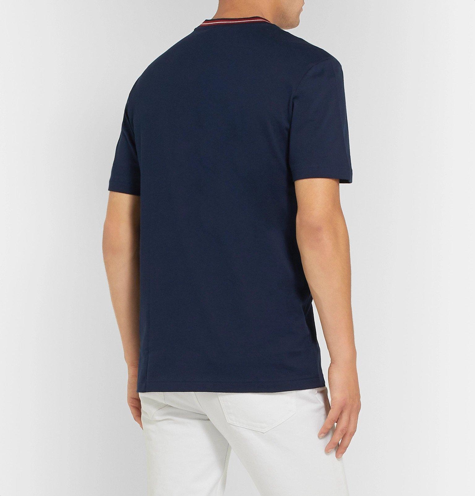 Lacoste - Stripe-Trimmed Pima Cotton-Jersey T-Shirt - Blue
