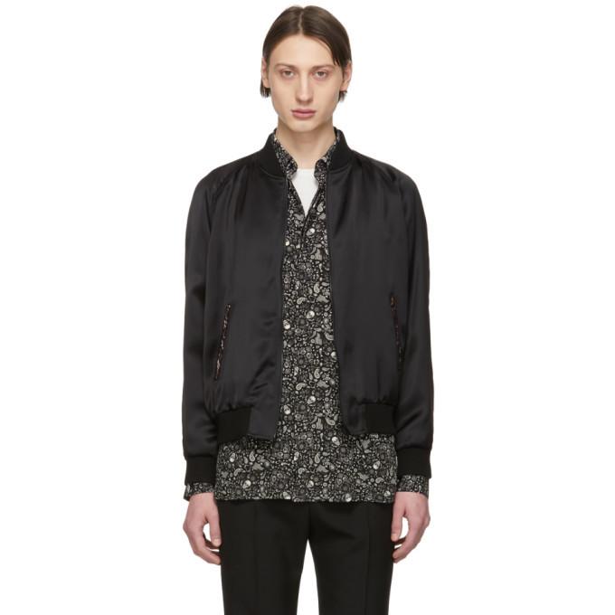 Photo: Saint Laurent Black Embroidered Logo Bomber Jacket