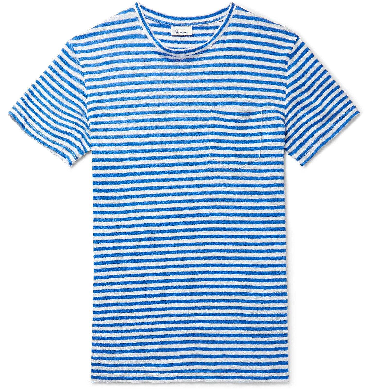 Schiesser - Helmut Striped Linen-Jersey T-Shirt - Blue