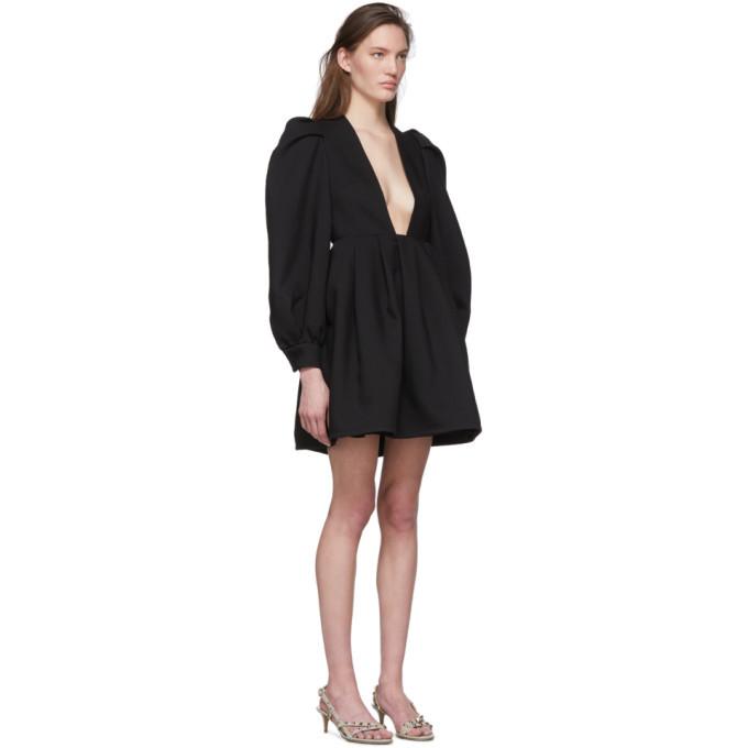 Valentino Black Wool and Silk Balloon Sleeve Short Dress