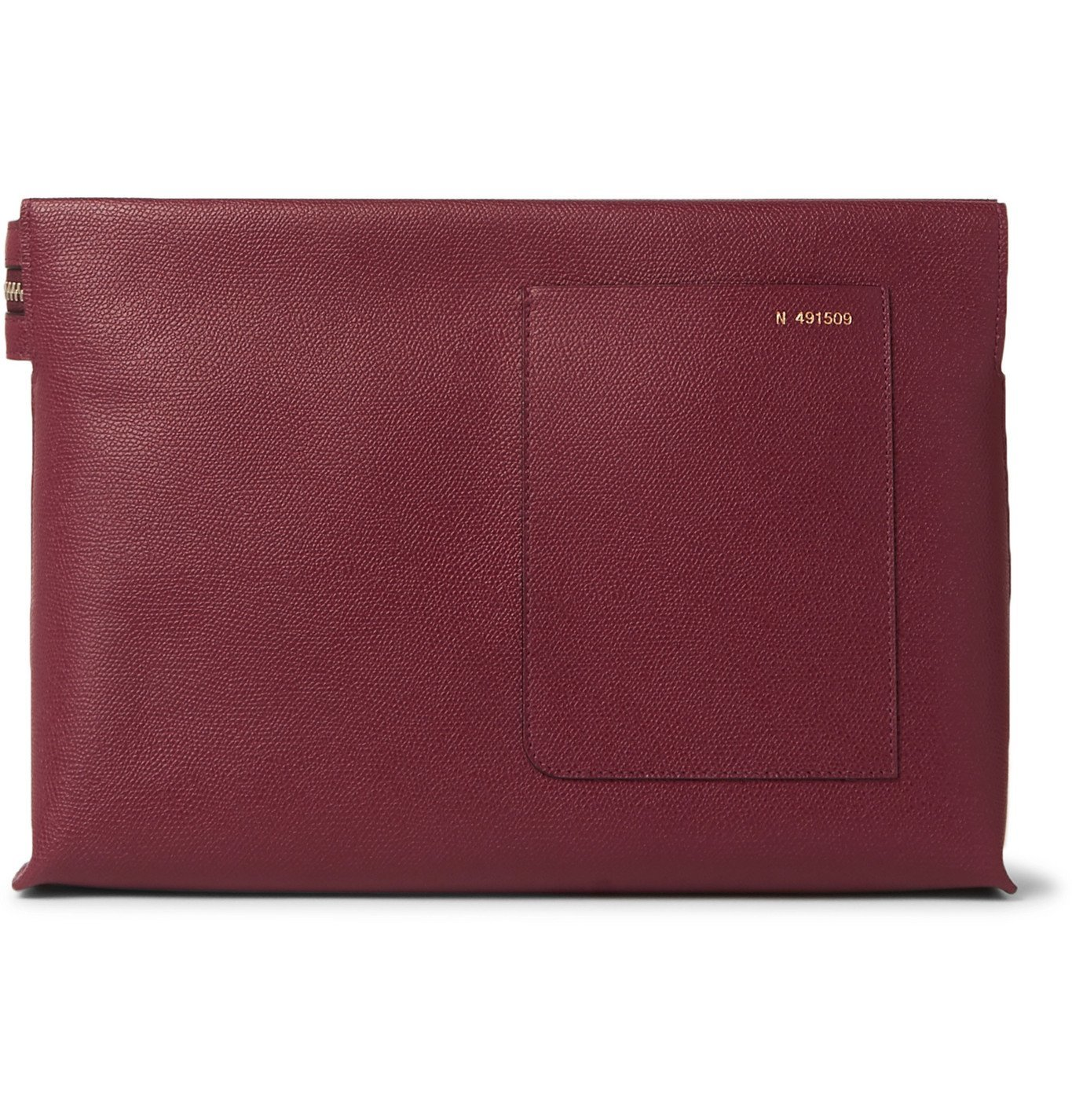 Photo: Valextra - Pebble-Grain Leather Pouch - Burgundy