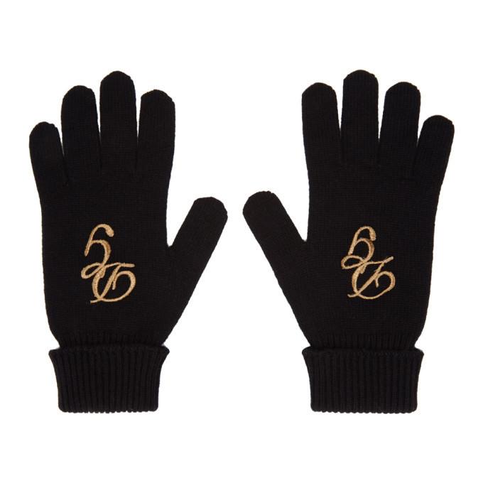 Photo: Dolce and Gabbana Black Cashmere Logo Gloves