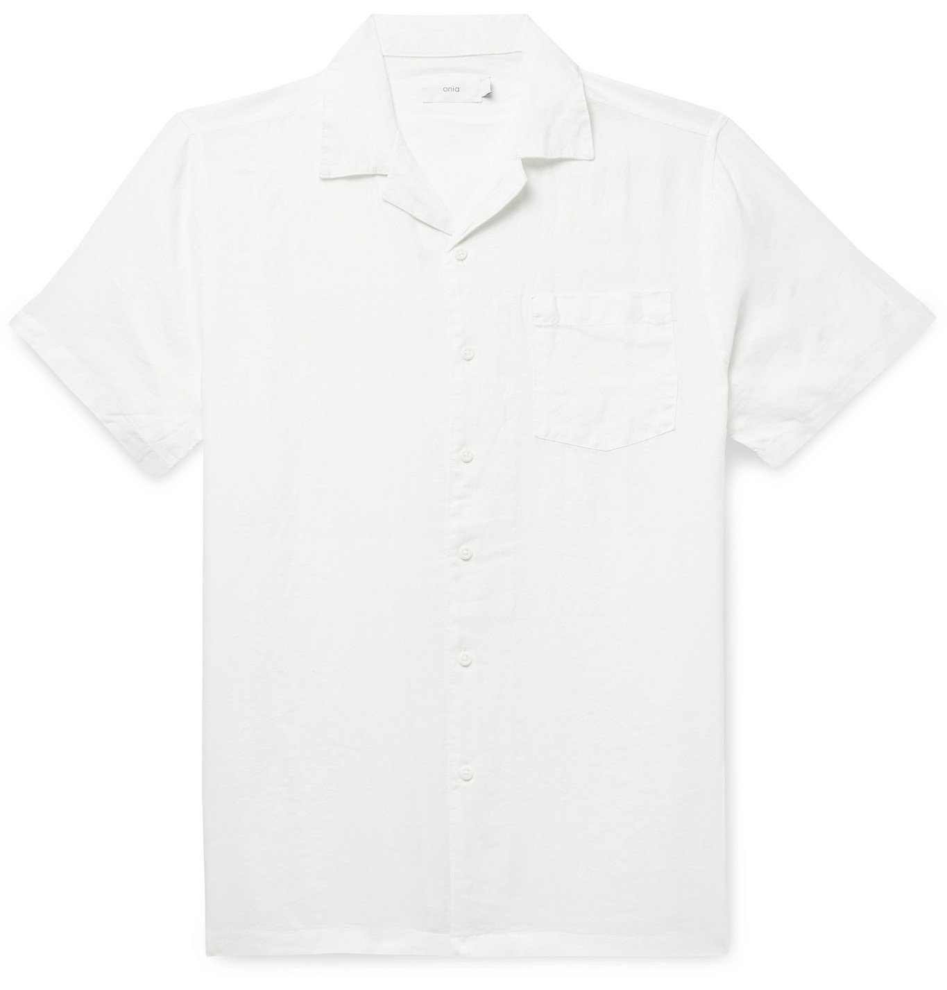 Photo: Onia - Vacation Camp-Collar Linen Shirt - White